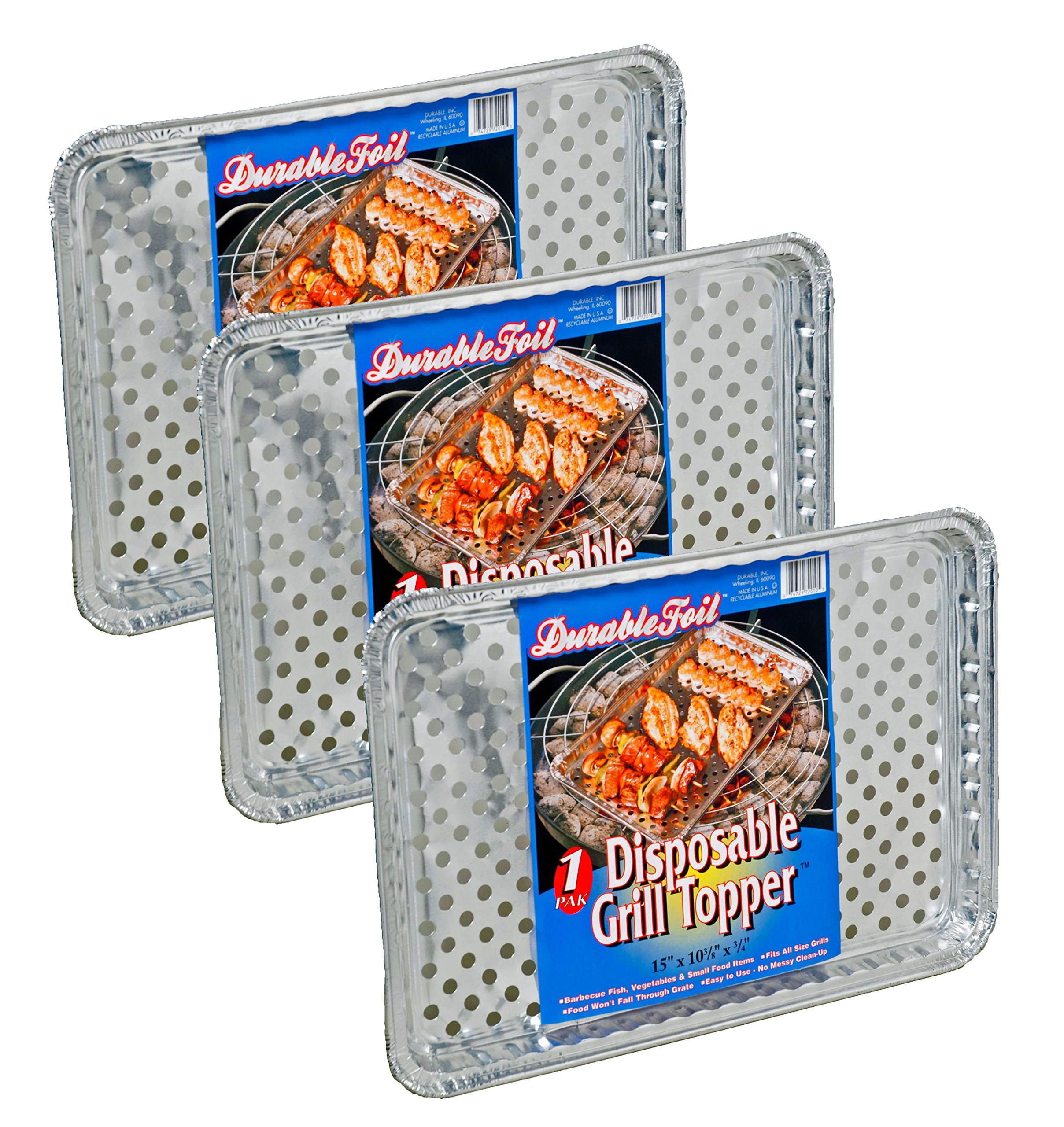 Set of 12 Durable Foil Disposable Deep Grill Topper Pans 11 3/4'' L x 9 1/4'' W x 1 1/2'' D by Durable (Image #4)