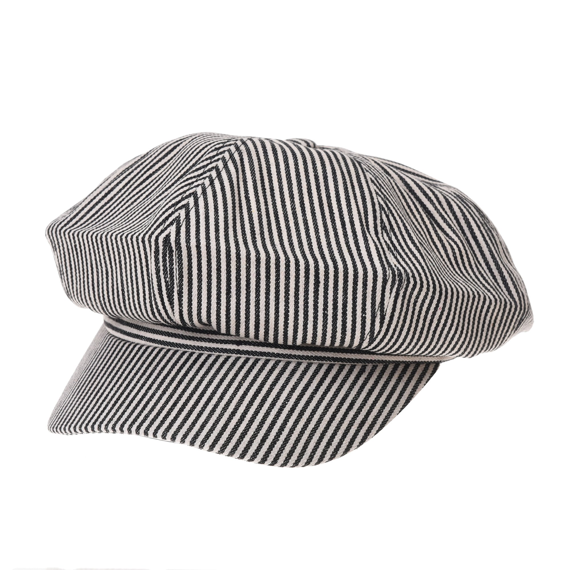 WITHMOONS Newsboy Hat Cotton Beret Cap Bakerboy Visor Peaked Stripe Pattern Hat SLG1010 (Black) by WITHMOONS