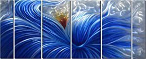 Metal Wall Art with Huge Blue Flower Design, Abstract Artwork for Modern and Contemporary Decor, Metal Wall Sculpture, Indoor Outdoor Wall Decorations, 6-Panels Measure 65