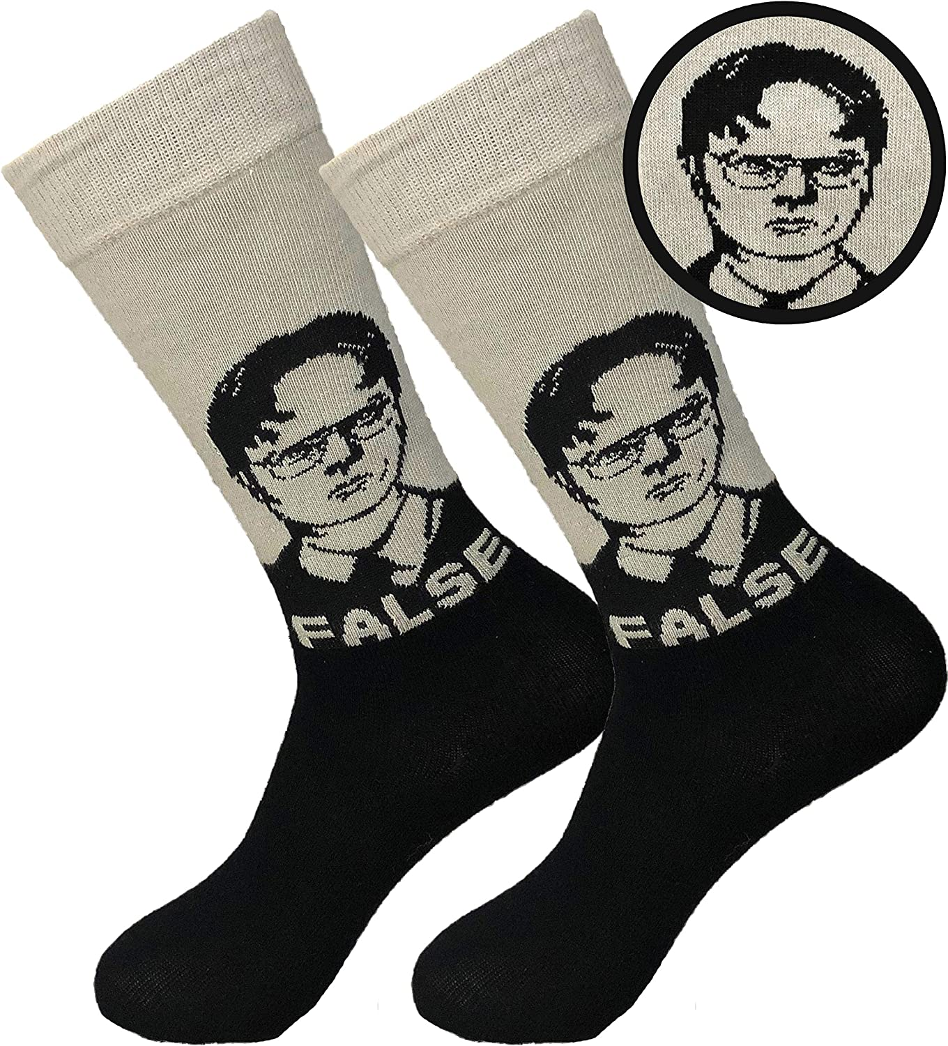 Balanced Co. Dwight Schrute Dress Socks Rainn Wilson Funny Socks Crazy Socks Casual Cotton Crew Socks