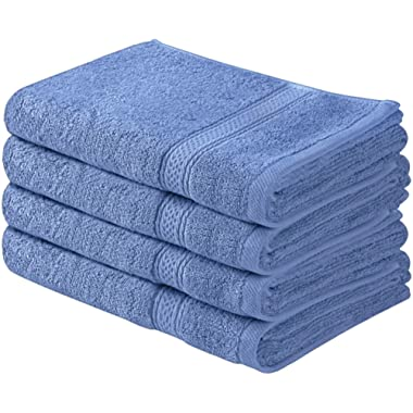 Utopia Towels Cotton Large Hand Towel Set (4 Pack, Electric Blue - 16 x 28 Inches) - Multipurpose Bathroom Towels for Hand, Face, Gym and Spa