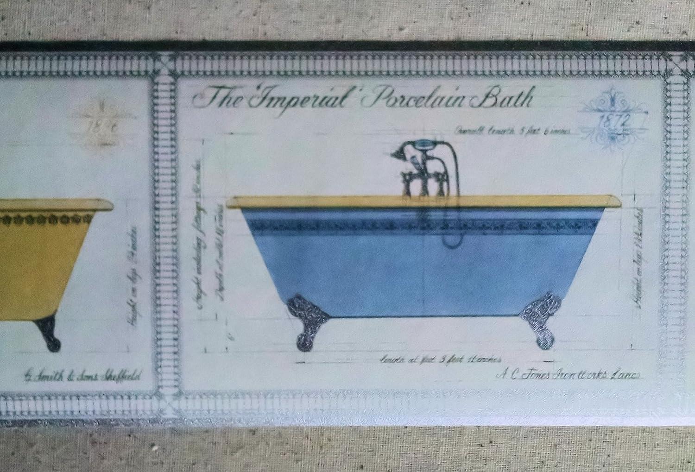 Porcelain Bath Tub Wallpaper Border - VC062172B - - Amazon.com