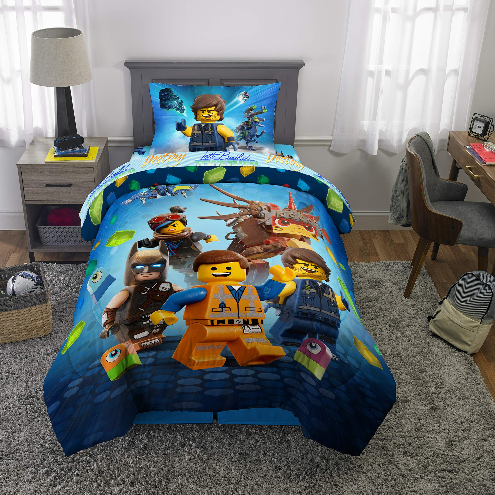LEGO Movie 2 Kids Bedding Soft Microfiber Comforter and Sheet Set Twin Size 4 Piece Pack Blue