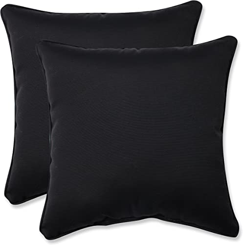 Pillow Perfect Outdoor Indoor Fresco Throw Pillows, 18.5 x 18.5 , Black, 2 Pack
