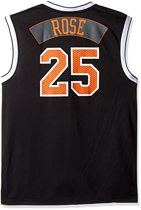 online retailer a22c7 37636 NBA New York Knicks Derrick Rose #25 Chevron Fashion Replica Jersey, Black,  Large