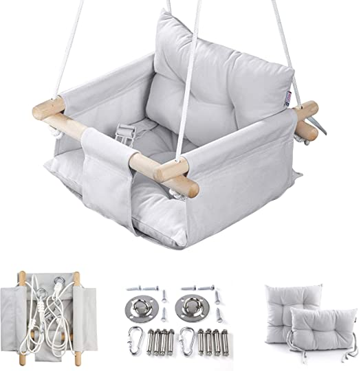 Wooden Hanging Swing Seat Chair For Baby With Safety Belt And Mounting Hardware Cateam Canvas Baby Swing Grey Baby Hammock Chair Birthday Gift Baby Bouncers Jumpers Swings