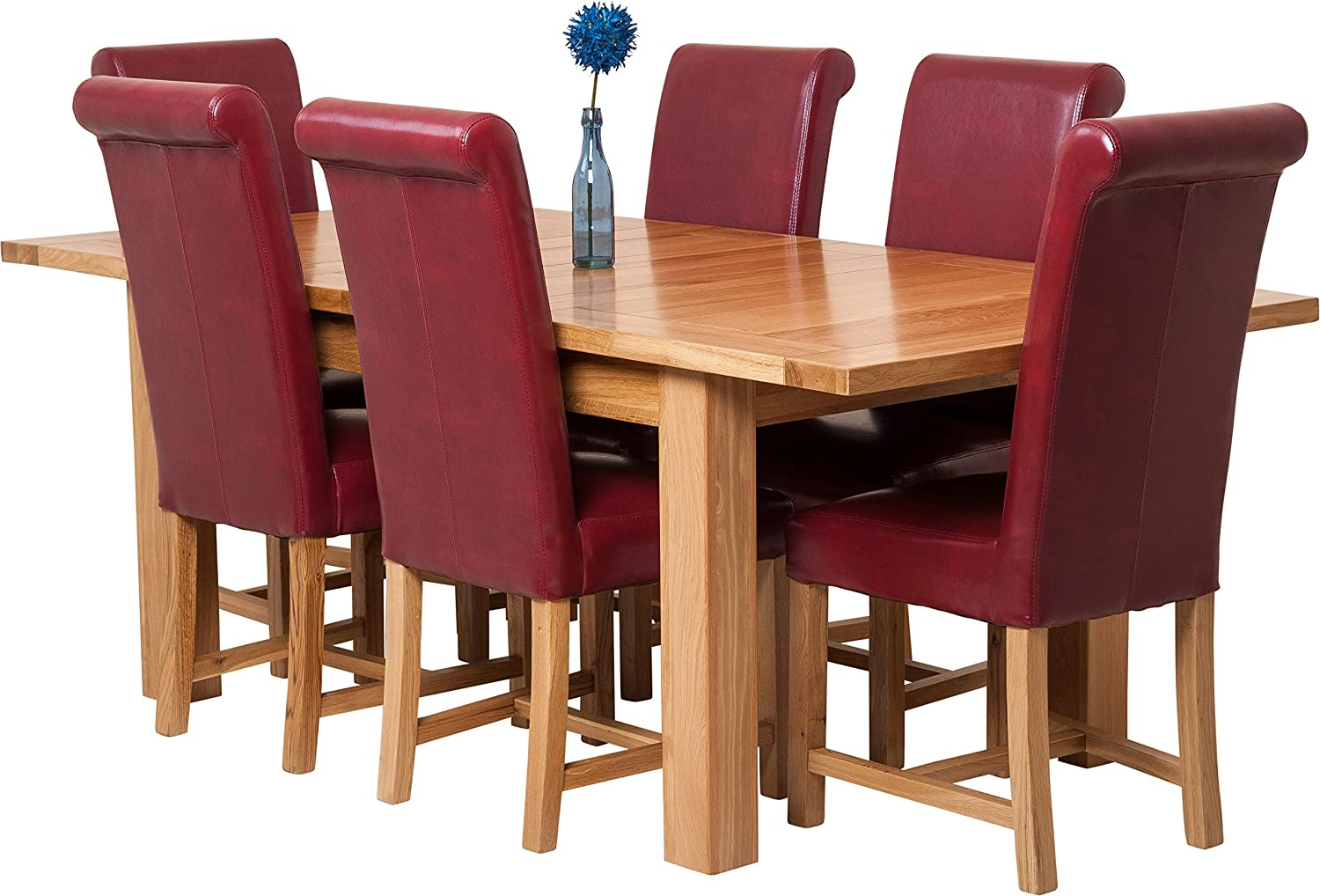 Hermosa Denver Solid Oak Large Extendable Dining Table and 9 ...
