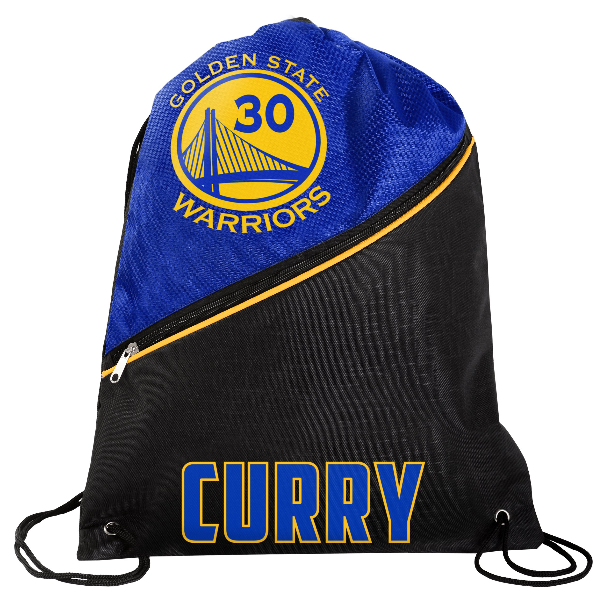 Golden State Warriors Official NBA High End Diagonal Zipper Drawstring Backpack Gym Bag - Stephen Curry #30 by TBFC