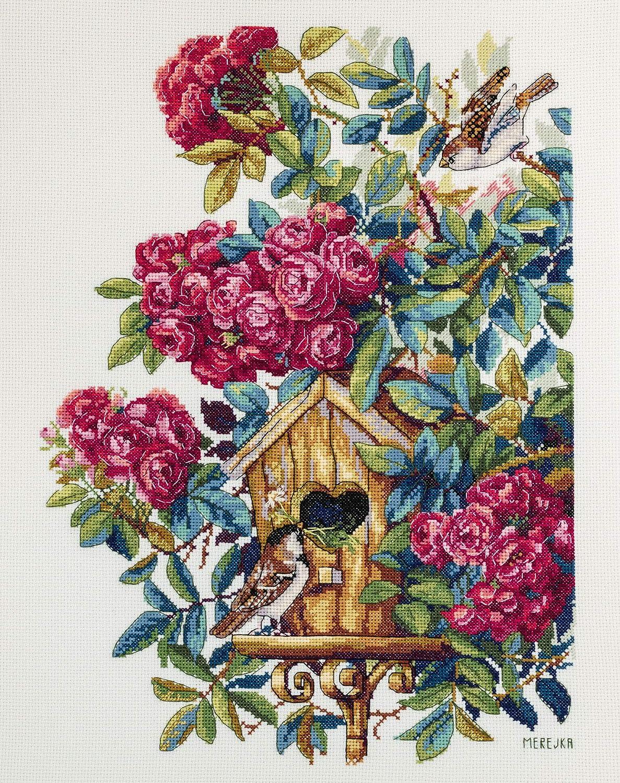 Merejka - Kit per punto croce, motivo: rose (Aida)