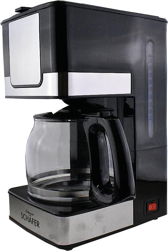 Cafetera eléctrica de acero inoxidable, volumen para 10 - 12 tazas, sistema antigoteo, 800 W, color negro: Amazon.es: Hogar