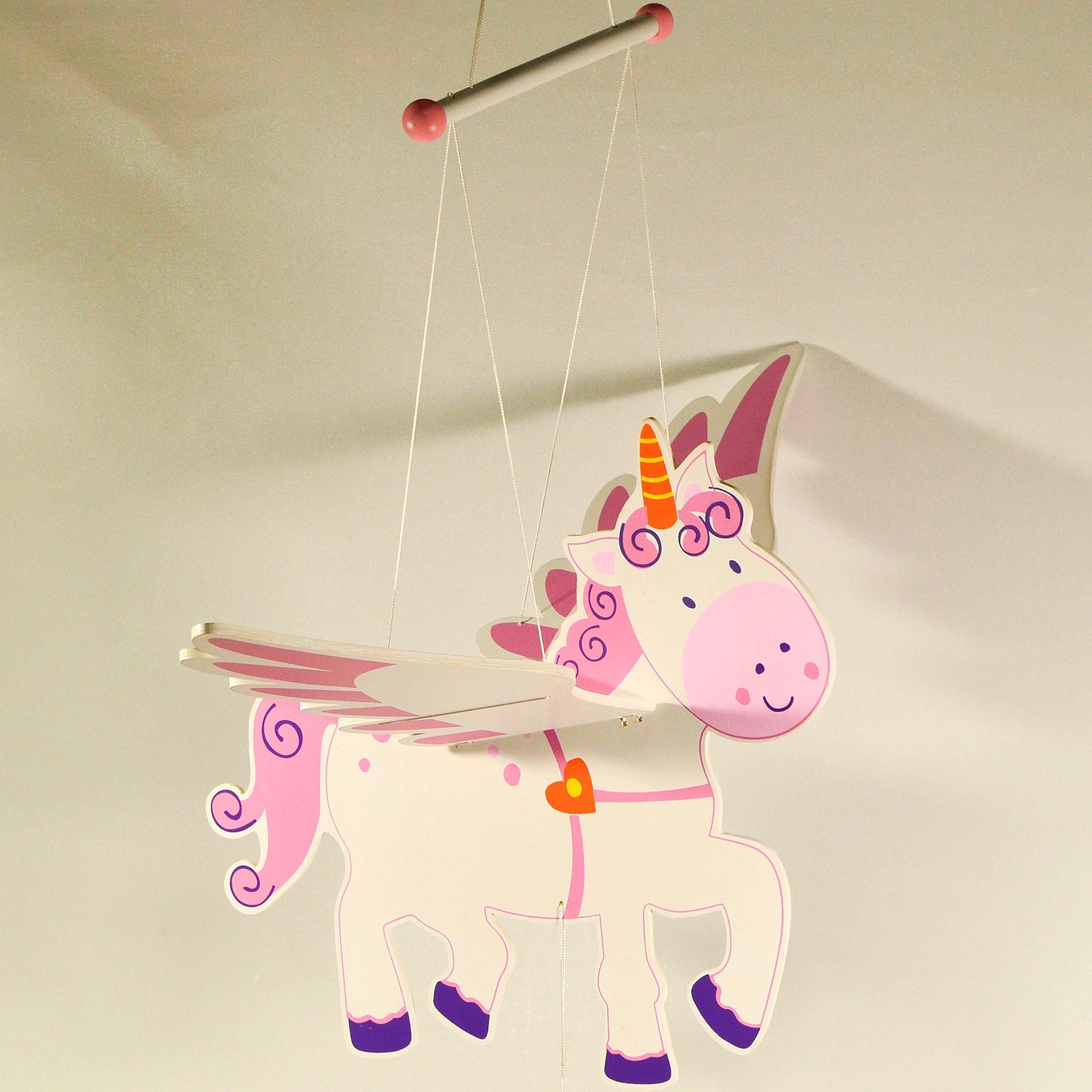 Wooden Hanging Mobile Unicorn - Nursery Decor - Baby Mobile Ornament - Baby Room Decor - Novelty Unicorn Decoration by EliteTreasures (Image #1)