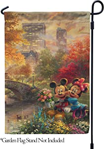 "Flagology.com, Disney, Thomas Kinkade, Mickey Mouse & Minnie Mouse, Mickey Minnie Central Park, Outdoor, Garden Flag 12.5""x18"",Exclusive Premium Fabric,Printed on Both Sides,Officially Licensed Disney"