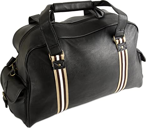 Cabin Bag Holdall for Men or Woman Leather Look Duffle Travel Hand Black