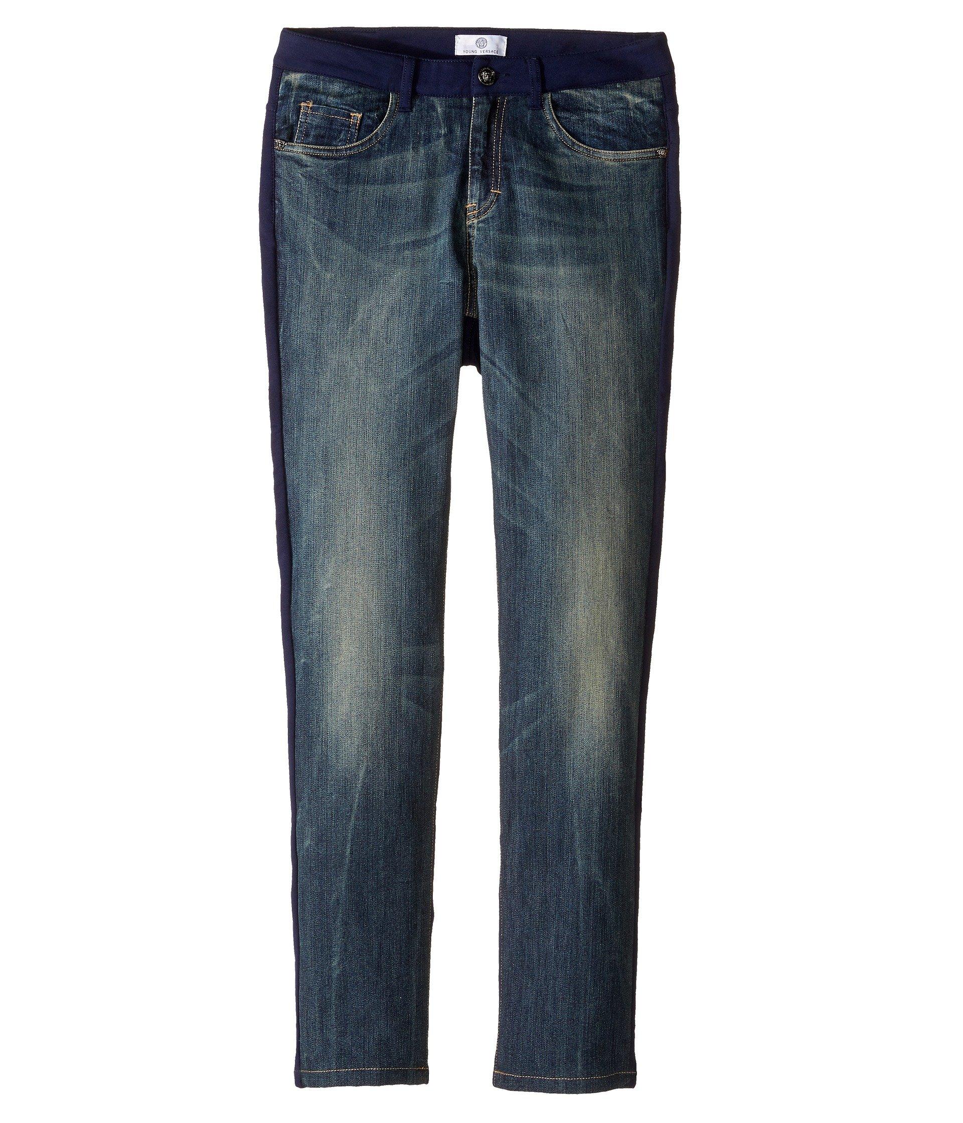 Versace Kids Boys' Denim and Sweat Mixed Fabric Pants (Big Kids), Denim Blue, 13/14 Years X One Size