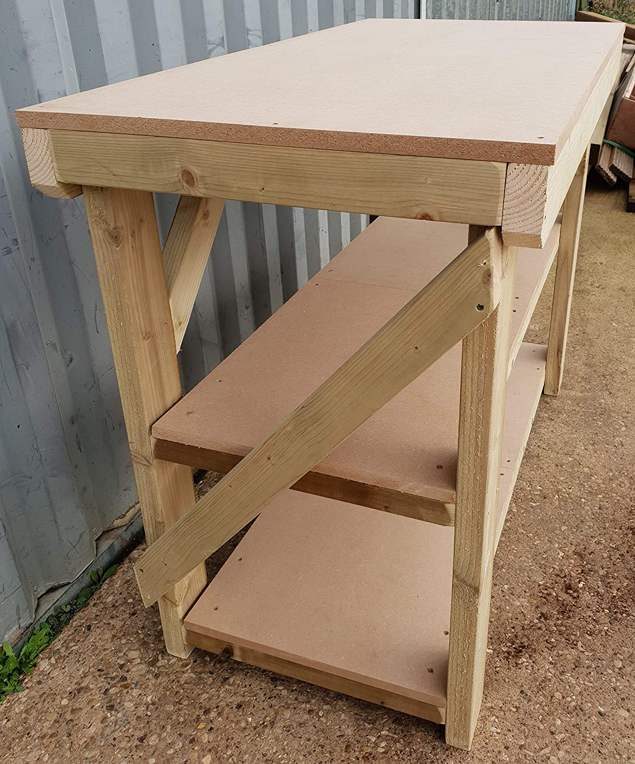 3FT to 6FT Made From Construction Grade Timber Wooden 18mm MDF WorkBench With Double Shelf 3Ft Work Table Hand Made Strong Heavy Duty