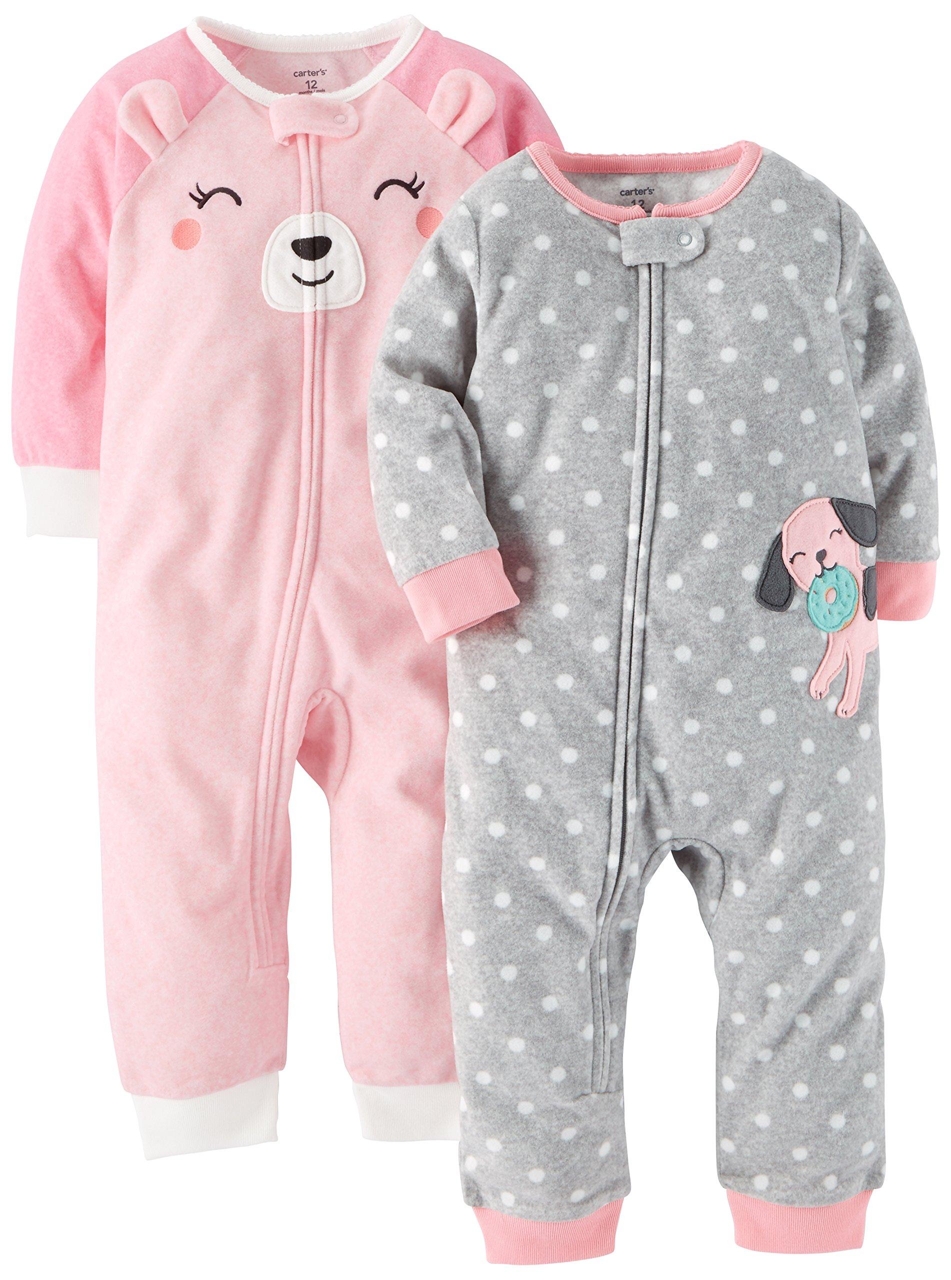8fe142f2f Carter s Baby Girls  Toddler 2-Pack Fleece Footless Pajamas