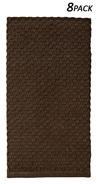 Cotton Craft   8 Pack Chocolate EuroCafe Waffle Weave Terry Kitchen Towels  16x28, 100%