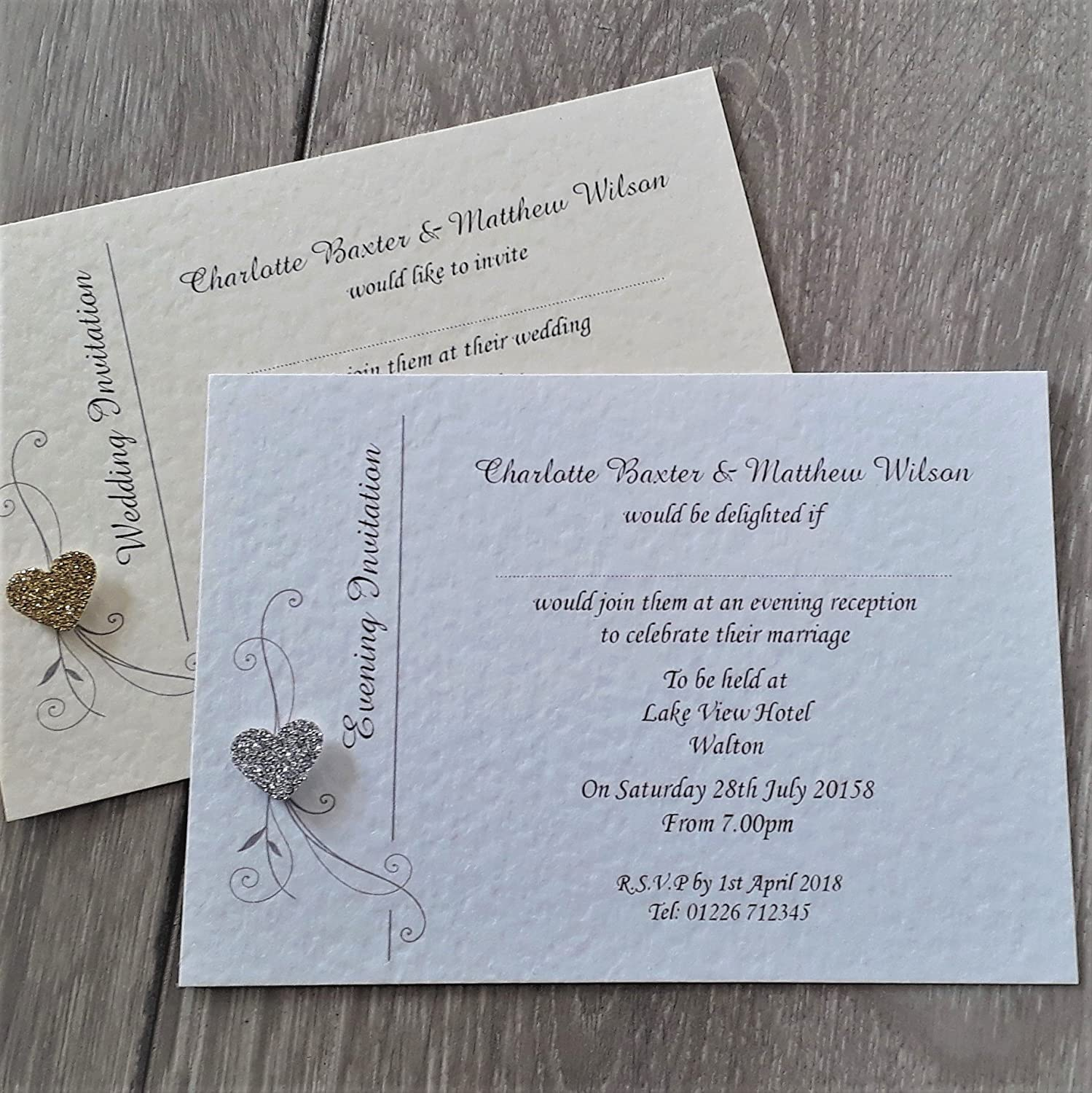 10 Personalised wedding or evening invitations with envelopes, Elegant glitter heart, ivory or white hammered card
