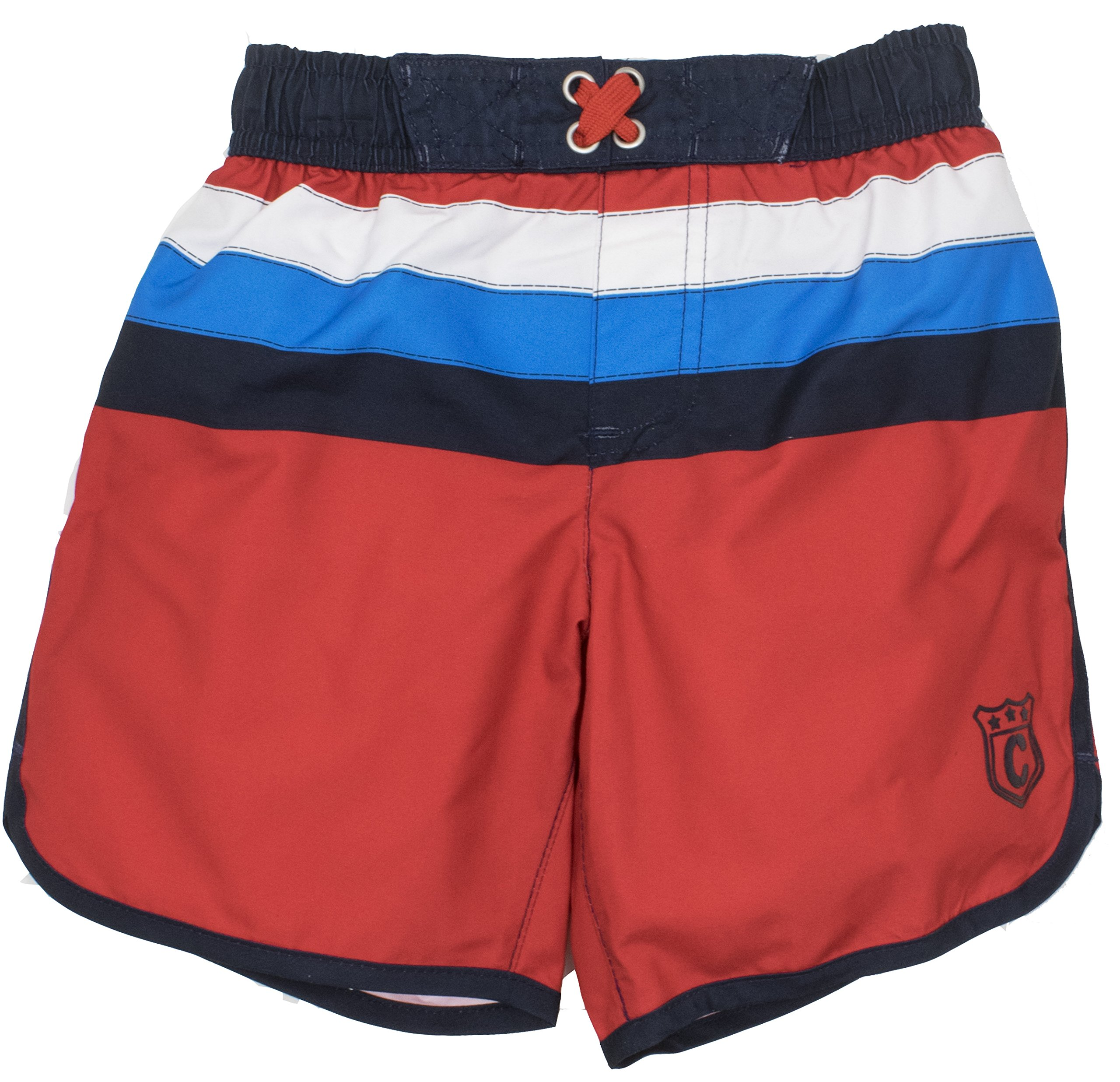 Cherokee Big Boys' Striped Swim Trunks Board Shorts, Red (10/12)