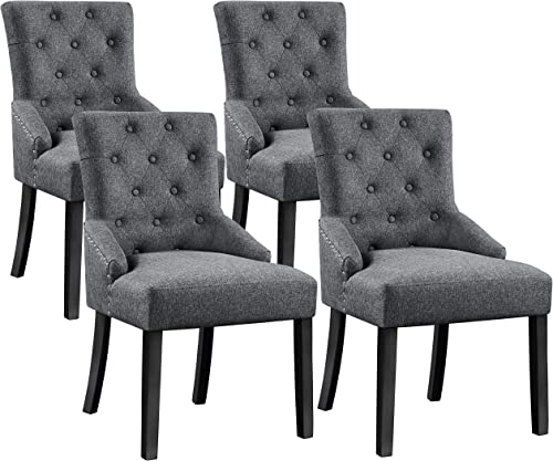 YAHEETECH 4pcs Dining Chairs Modern Accent Chairs Upholstered Fabric Chairs Elegant Button Tufted Chair