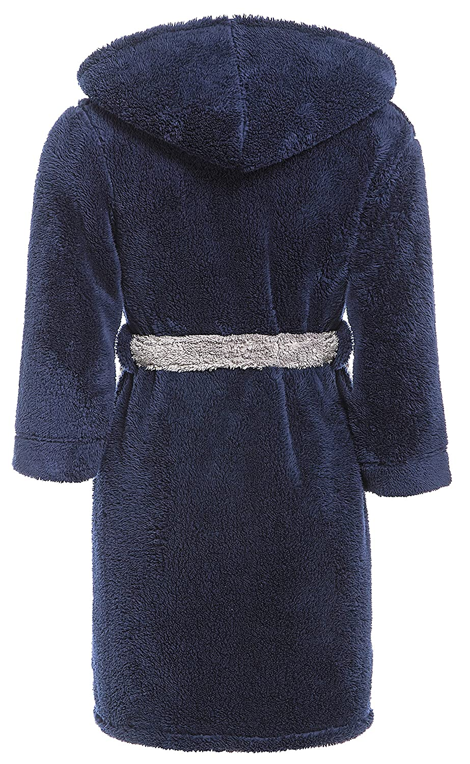 Navy Blue Grey Slumber Hut/® Luxury Boys Fleece Hooded Dressing Gown Warm Shaggy Snuggle Childrens Robe Size 7 up to 13 Years