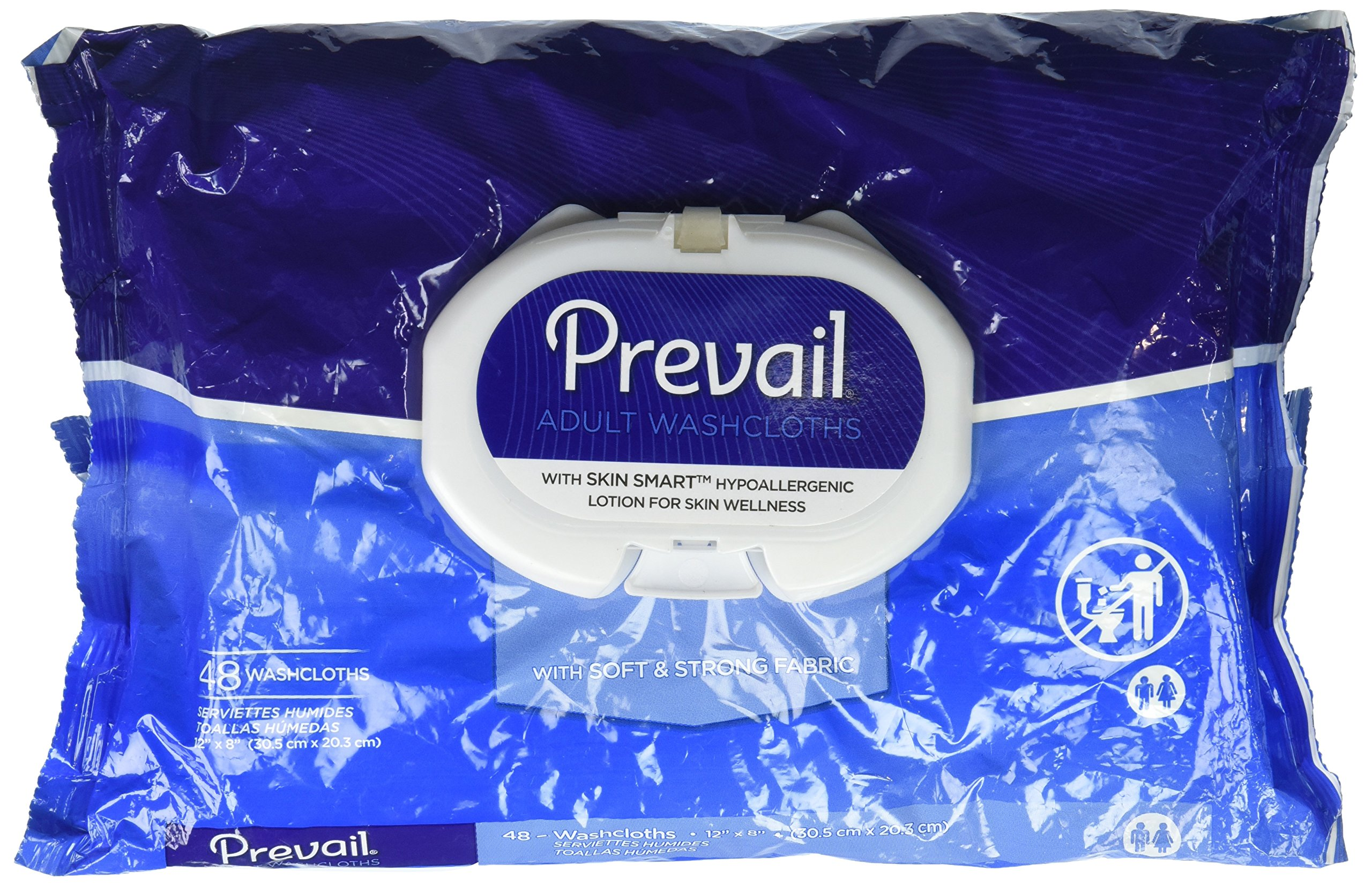 Prevail Personal Wipe, Bath Wipe Washcloth, Soft Pack, Vitamin E/Aloe, WW-710-48 Pack