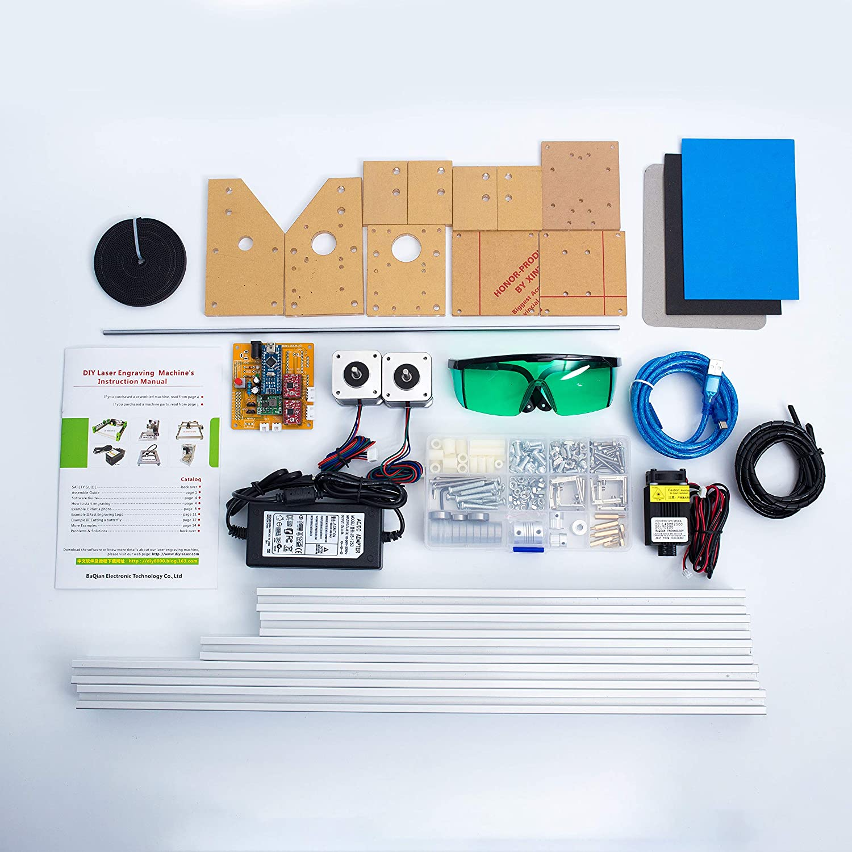 TOPQSC Bachin Máquina de Tallado Kit de Bricolaje,Grabador Láser de Escritorio 12V USB Carver,Area de Grabado 400X500 mm,Impresora Láser de Potencia ...