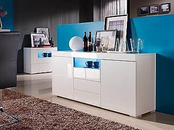 sideboard kommode weiß led wohnzimmer schlafzimmer hochglanz ... - Wohnzimmer Kommode Weis