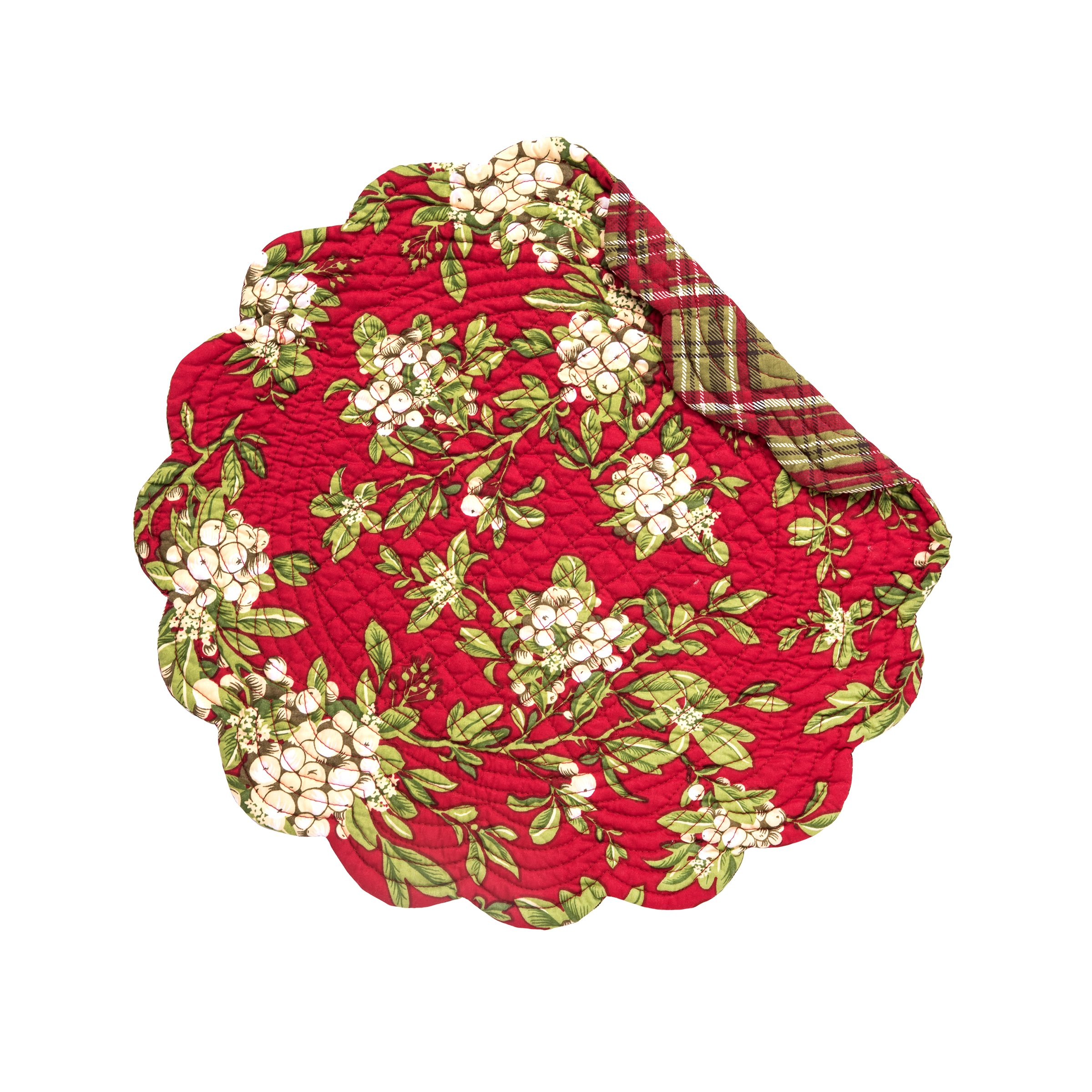 C&F Home Mistletoe Leaves Round Cotton Quilted Single Placemat Round Placemat