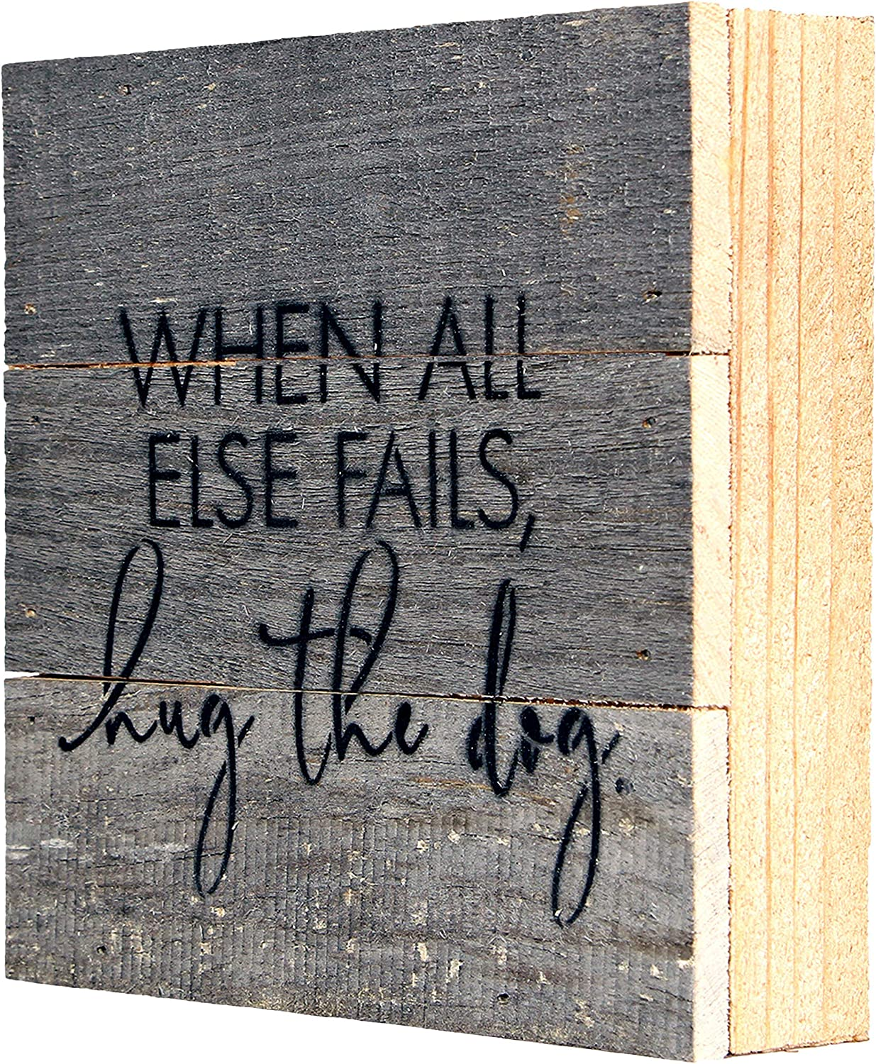 When All Else Fails Hug the Dog Box Signs for Home Decor, Farmhouse Cute Wooden Signs with Quotes, Funny Knick Knacks Home Decor, Wooden Box Signs with Quotes, Rustic Plaques with Sayings USA Handmade