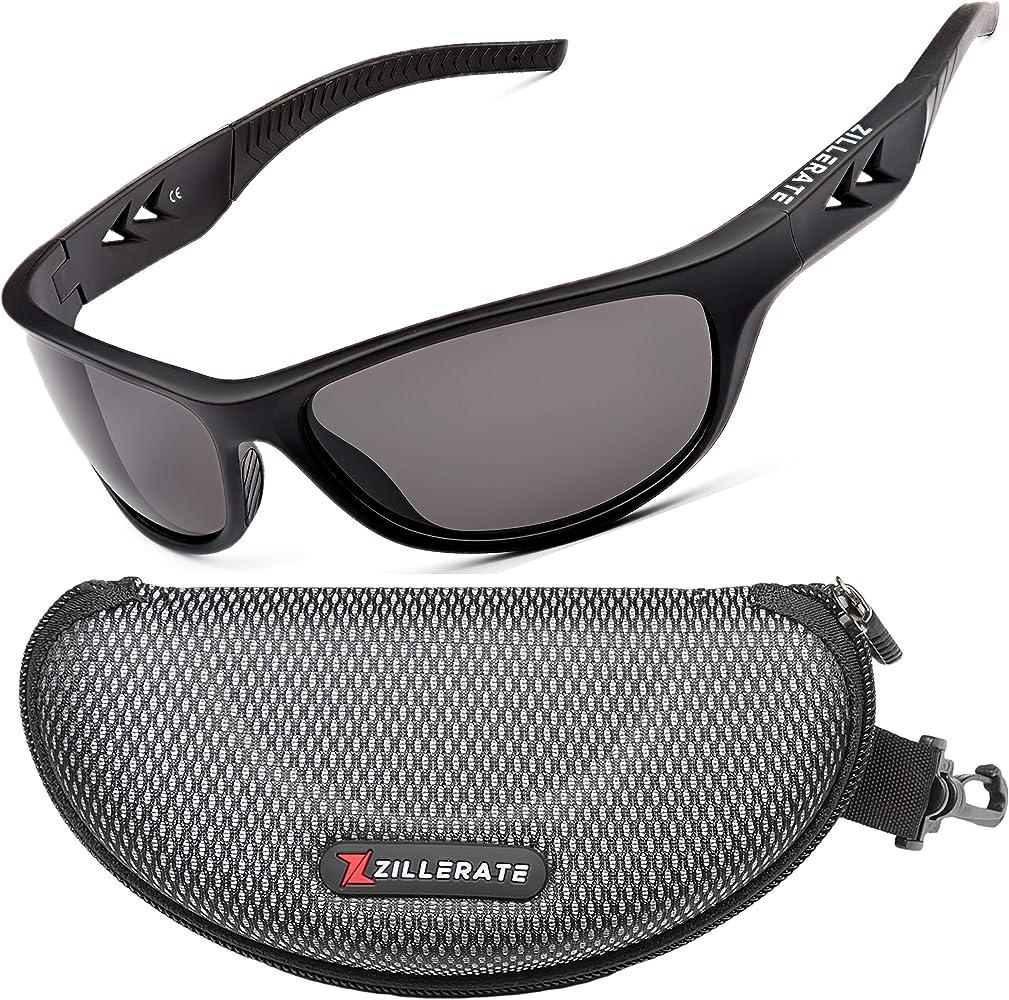 ZILLERATE Gafas De Sol Polarizadas Hombre Gafas De Sol Deportivas para Hombre y Mujer, Protección UV400 con Montura Ligera, Ideal para Ciclismo Esquí Golf Pesca Conducir, Funda Rígida y Cordón: Amazon.es: Deportes