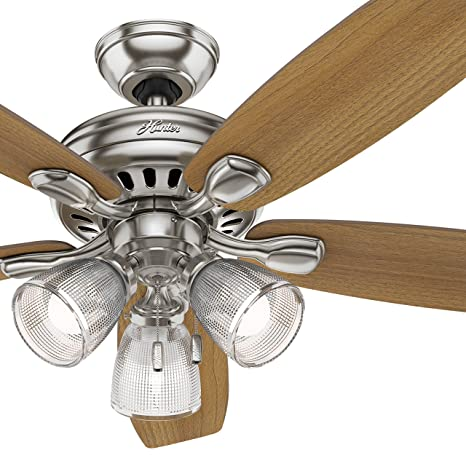 Hunter Fan 52 Inch Brushed Nickel Ceiling Fan With Light And Led