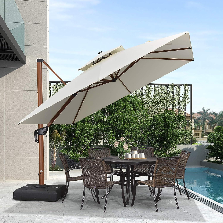 PURPLE LEAF 10ft Patio Umbrella Outdoor Square Umbrella Large Cantilever Umbrella Windproof Offset Umbrella Heavy Duty Sun Umbrella for Garden Deck Pool Patio, Cream