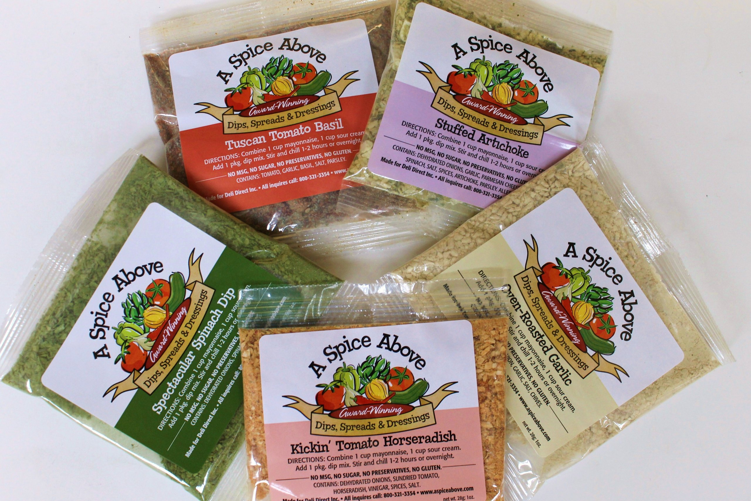 Variety Pack of 5 Dips by Deli Direct/A Spice Above