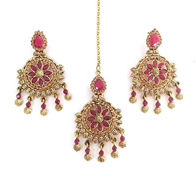 39d93f287 Buy SPATA A-one Quality Gold Plated Pink Colour Jewellery Set for Women  Online at Low Prices in India