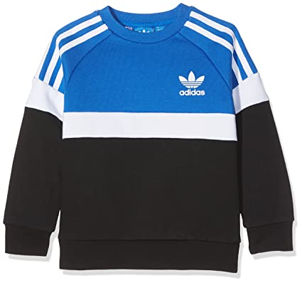 adidas J Trf Fl Crew Sudadera, Niños, Azul (Azul/Blanco/Negro