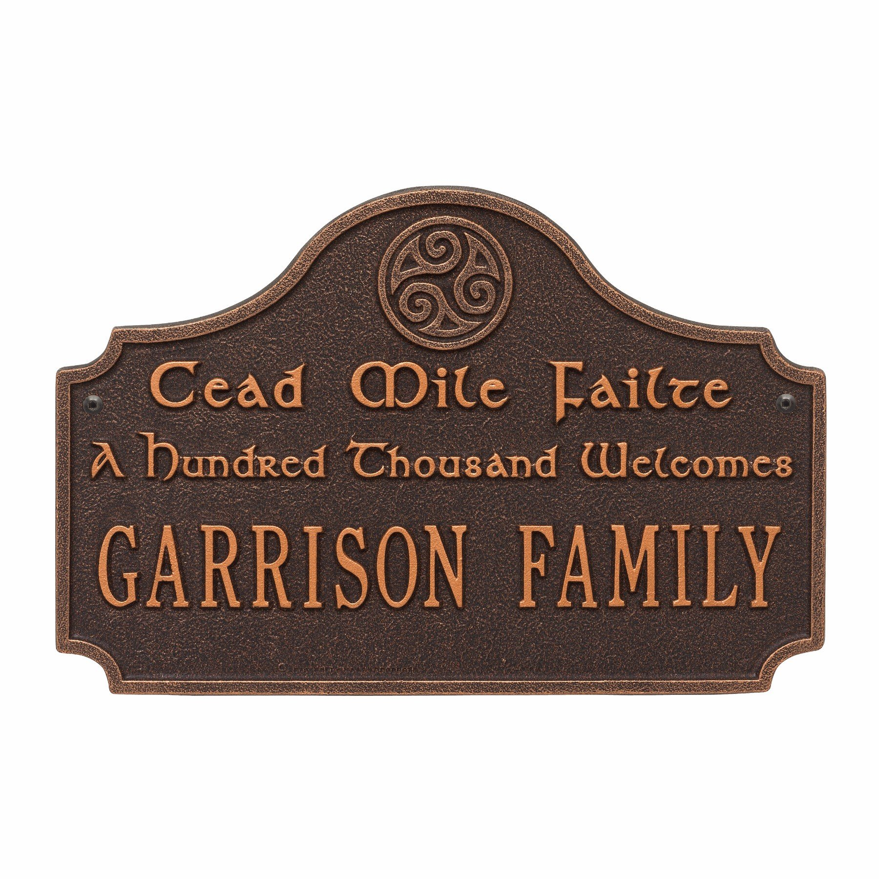 Personalized Cead Mile Failte Plaque - ''A Hundred Thousand Welcomes'' Gaelic Sign