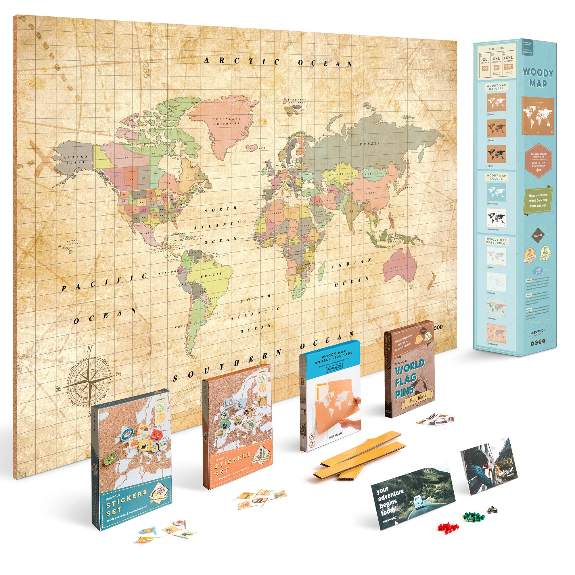Push Pin Travel Map Kit Includes: Cork World Travel Map, World Flags, Monument and Food Stickers, for Travelers (Old School, XL (23.6 x 35.4 inches))