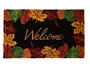 """Notrax Welcome Fall Leaves, Vinyl-Backed Natural Coir Doormat, Entry Mat for Indoor or Outdoor Use, 18""""""""x30"""""""", C12 (C12S1830WL)"""""""