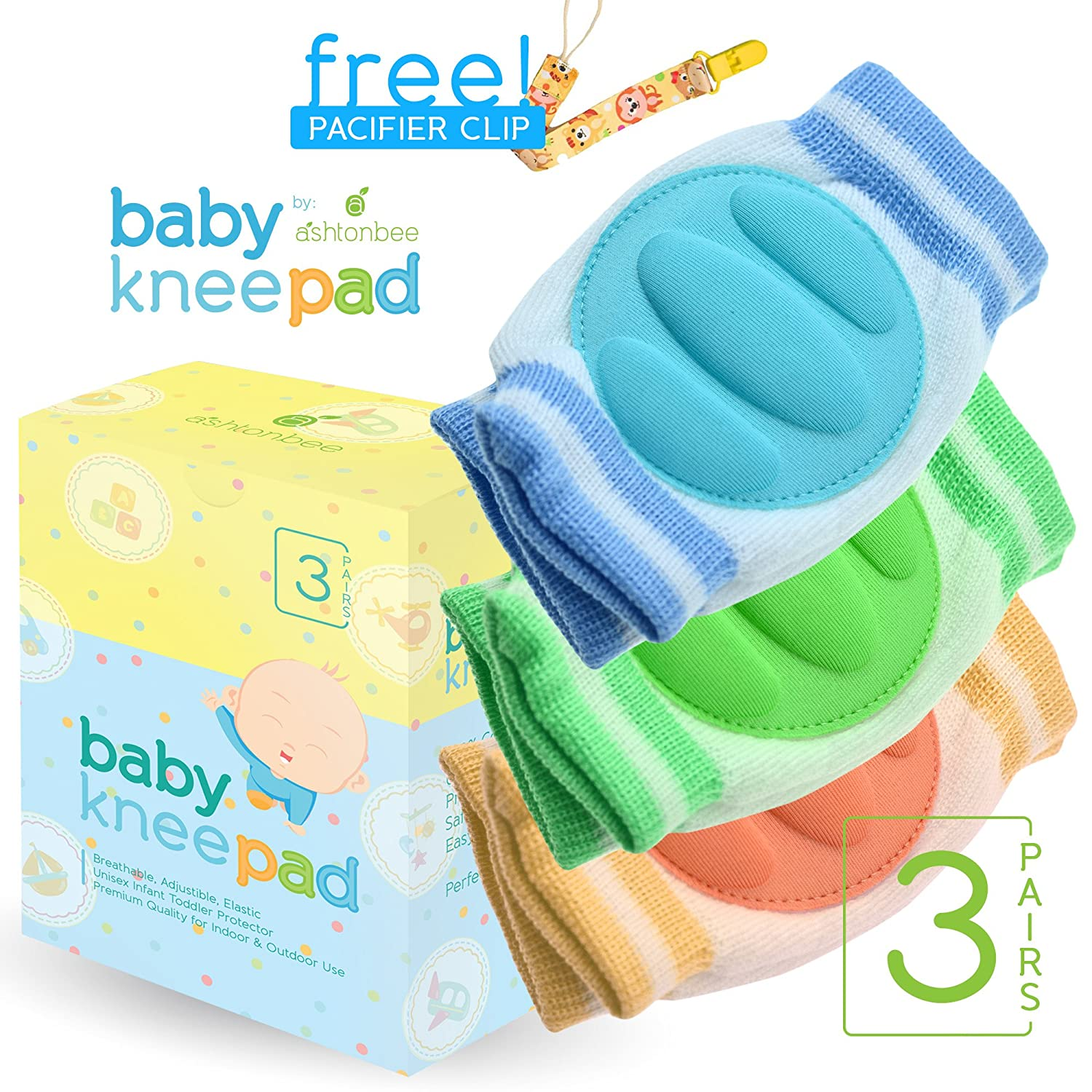 Amazon Baby Knee Pads for Crawling 3 Pairs Adjustable