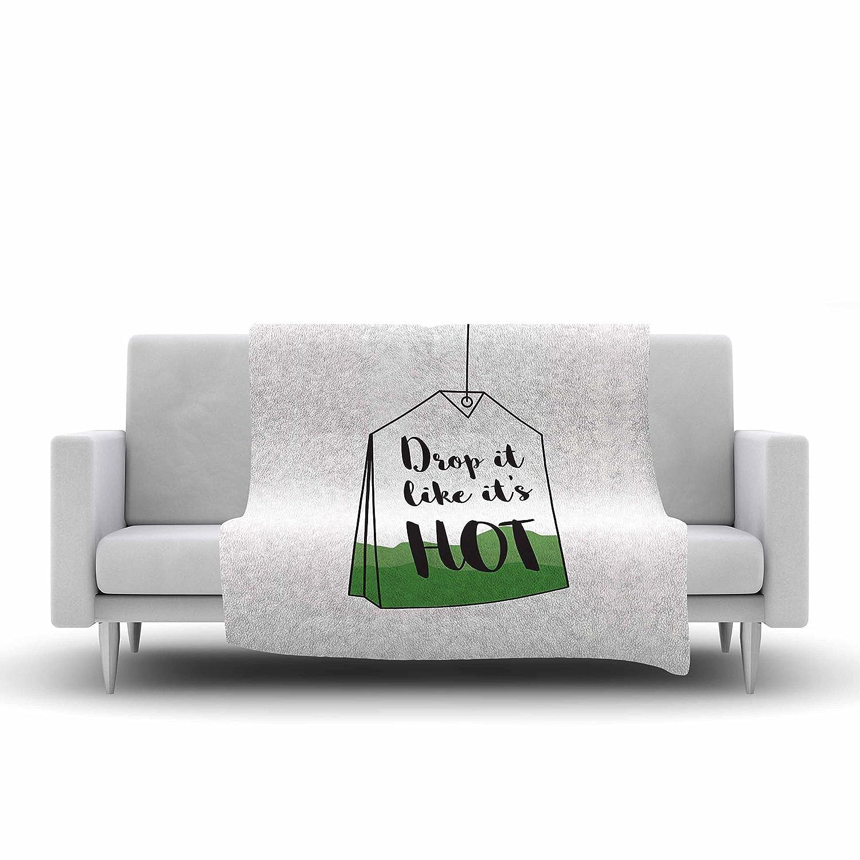 60 X 50 60 by 50-Inch Kess InHouse Jackie Rose Drop It Green Black Fleece Throw Blanket
