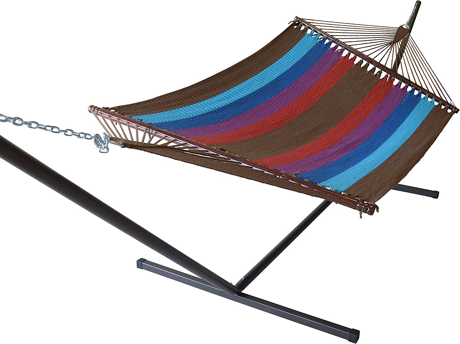 Caribbean Hammocks Jumbo Hammock and 15 ft Tribeam Stand - Multi Color Light Blue