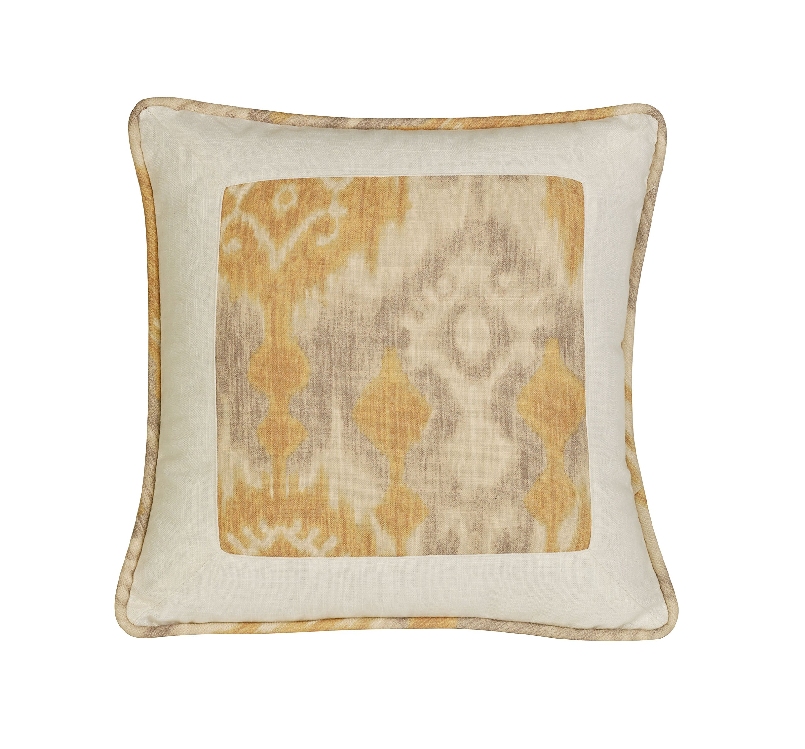 HiEnd Accents Casablanca Framed Pillow, 18 by 18'', Geometric, Yellow