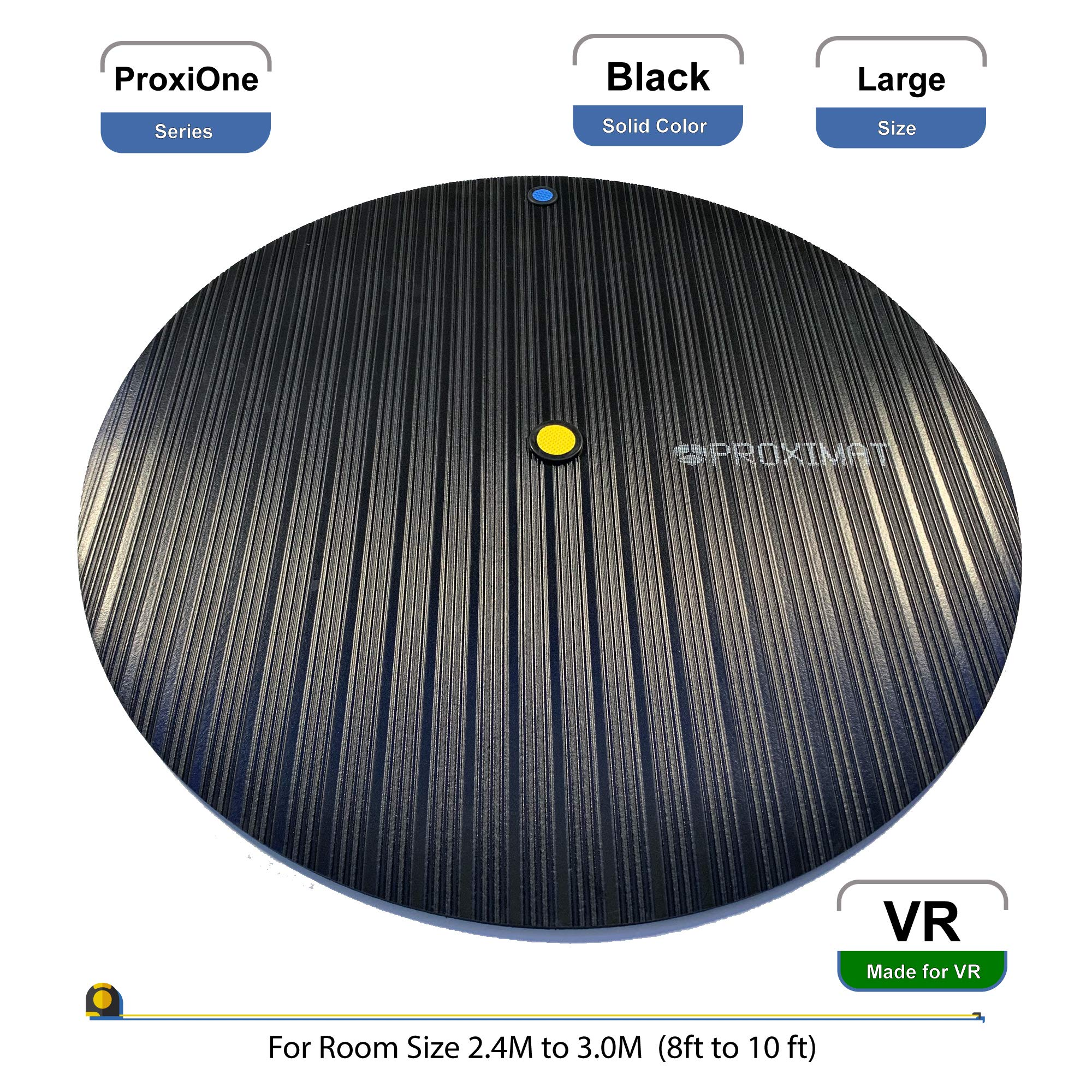ProxiMat   ProxiOne   Black   Large   VR Virtual Reality Chaperone Safety Mat   8' to 10' Room Scale   For HTC Vive, Oculus Rift Quest, Playstation PSVR, Pimax 5K 8K, Valve Index Headset