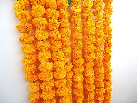 Amazon craffair artificial marigold flower strings orange color craffair artificial marigold flower strings orange color party backdrop party decoration indian theme mightylinksfo