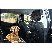 Millerinc Pet Safety Net Barrier for Dogs - adjustable dog barrier net for Car/Truck/SUV/Van - Behind front seats, backseat, or Cargo area coverage