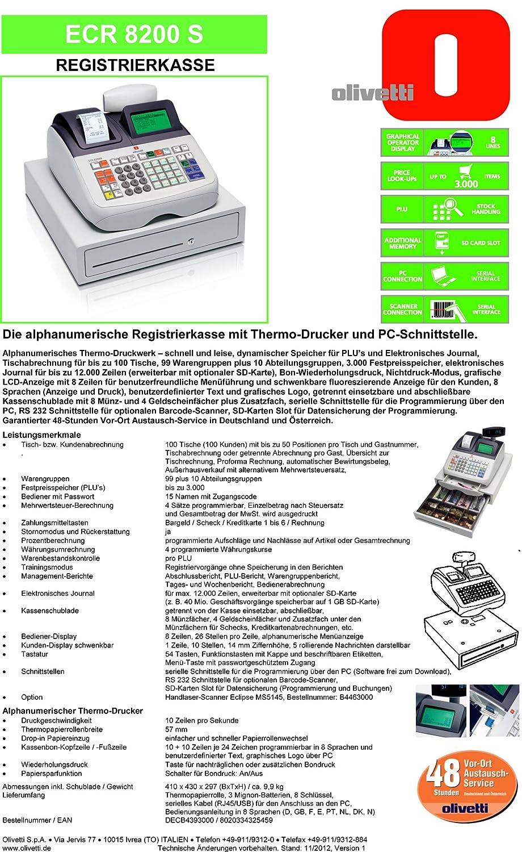 Q-Connect 43782 Caisse Enregistreuse Olivetti Alphanum/érique ECR 8200S /Écran 8 Lignes Plastique M/étallique