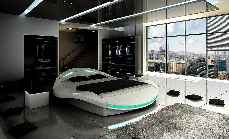 XXXL Designer Bett Designerbett LED Beleuchtung (Weiß, 200x200 ...