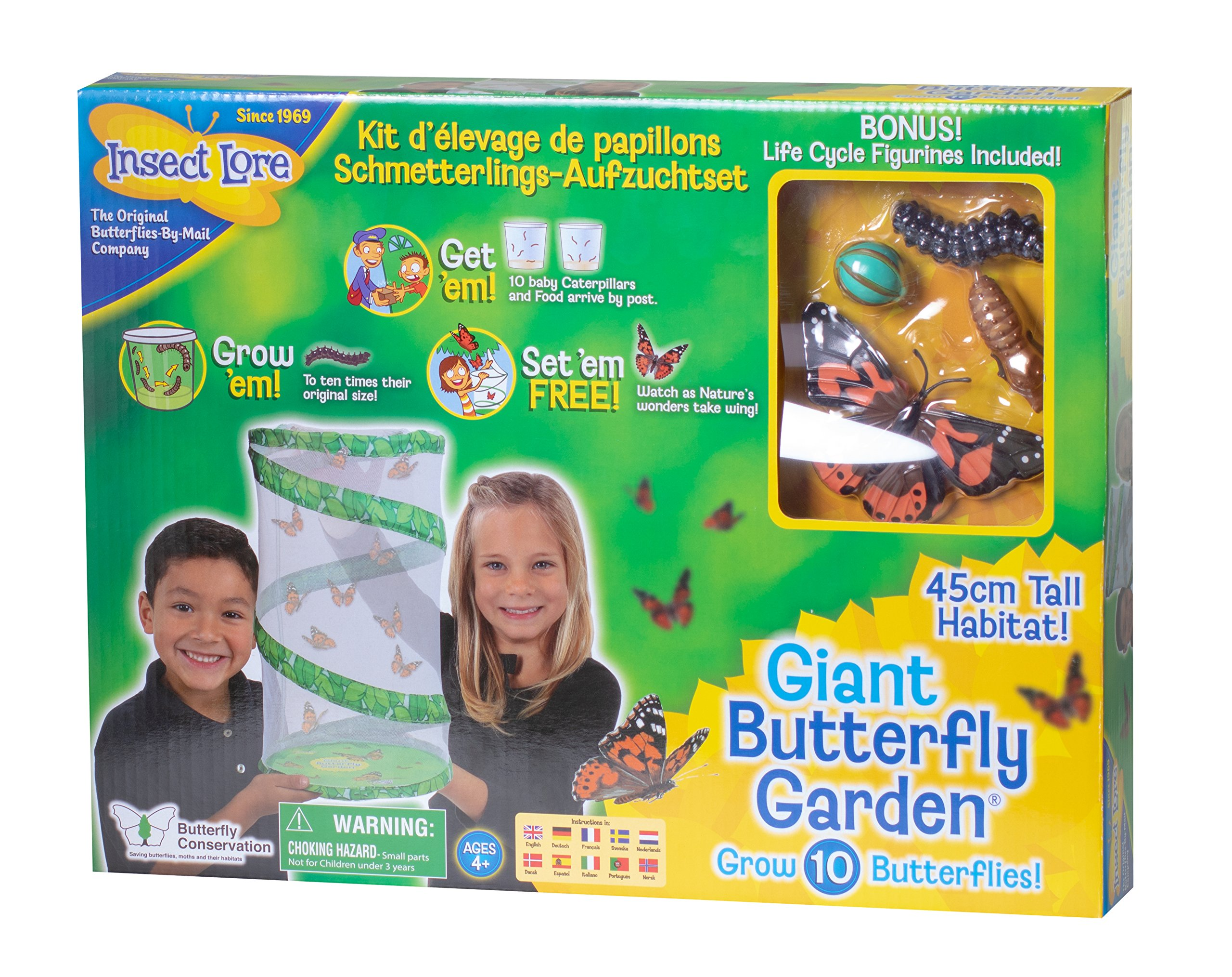 Insect Lore Giant Butterfly Kit: Deluxe 18'' Habitat, Voucher For 5 Caterpillars, Butterfly Play Set