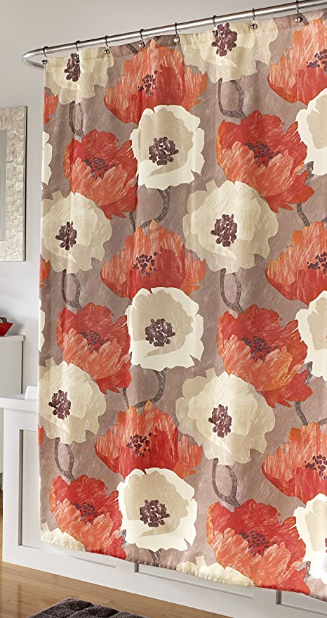 Mstyle Poppies Shower Curtain Tangerine